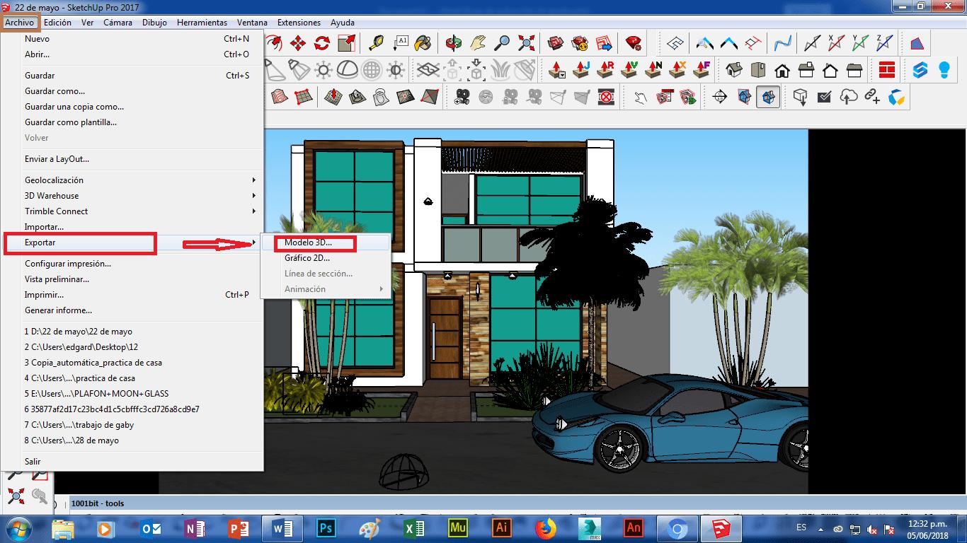 🥇 Como exportar un modelo de Sketchup 2018 a Lumion 8