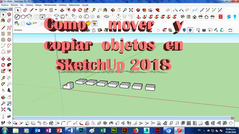 copiar objetos en sketchup como copiar multiple en sketchup
